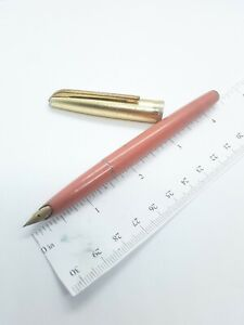 "Vtg pink Platinum ""shine gold honest"" fountain pen - 14k f nib - Japan"