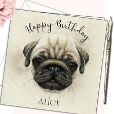 Personalised Birthday Card Mother Daughter Sister Friend 18th 21st  40th Pug Dog
