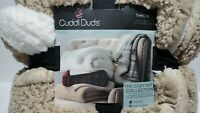 Cuddl Duds Beige Plush Sherpa Throw Blanket 50 x 60 Reversible Super Soft Layers