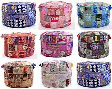 10 PC LOT Pouf Ottoman Indian Saree Pouffe Round Foot Stool Floor Pillow Cover
