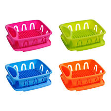 Pink Plastic Plate Dish Drainer Kitchen Drying Rack With Removable Dripping Tray