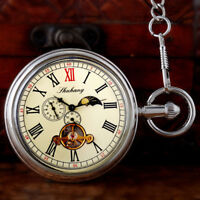 Silver Wind up Vintage Mechanical Pocket Watch Moon Phase Fob Chain Open Face