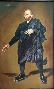 "Edgar Alvarez Estrada ""Van Gogh Patinado"" Venzuelan Surealist - Original Art"