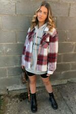 Women's Wine Oversized Checked Patch Pocket Shacket 6 8 10 12 14