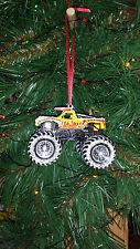 Hot Wheels Monster Jam El Toro Loco w/snow R Christmas Ornament Yellow Truck