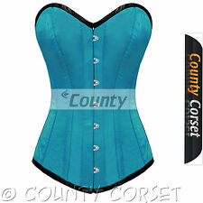 Steel Bone Long Torso Overbust Bustier Back Lacing Turquoise Satin Corset Korset