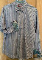 Robert Graham Men's L Button Front Shirt  Blue Stripes Paisley Flip Cuffs Cotton