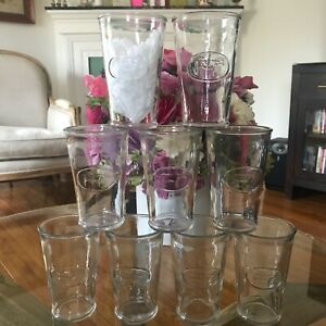Set of 9 Vintage Embossed Clear Glass Cow Embossed 10 Oz Tumbler Milk Canada EUC