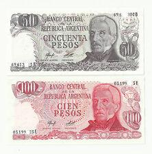 2 billetes Argentina  50  y 100 pesos sin circular plancha billete lote bill