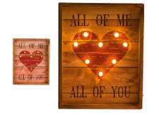 LED LIGHT SIGN ALL OF ME  ALL OF YOU LOVE HEART TIMBER WALL ART HOME DECOR GIFT