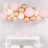Pink Party Baby Shower Balloons Garland Kit Chrome Gold Confetti Organic Arch