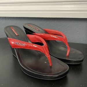 Prada Red Patent Leather Flip Flops Wedges Heels Shoes EU size 37 US 7 Womens