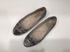 SALVATORE FERRAGAMO Shoes Varina Ballerina Bow Flat Silver Sequin 8  38