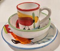 3 piece Vietri Italy Set kids cup, bowl, plate Trains Cars Planes Tiny Chip EUC