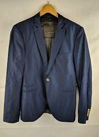 Zara Black Tag Men's Blazer Jacket Grey 70% Wool Size Eur 48 SML VGC