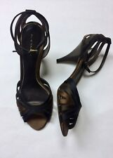Elie Tahari 40 EU 10 EU Brown Black Bronze Satin Strappy Heels Ankle Sandals