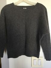 CHARTER CLUB 2 Ply 100% Cashmere Pewter Gray Short Sweater Pullover Petite M EUC