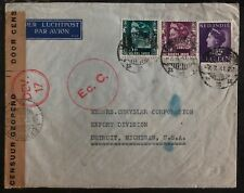 1941 Batavia Netherlands indies airmail Censored cover to Detroit Mi USA