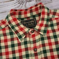 Vtg Abercrombie & Fitch Heavy Woven Plaid Xmas Holiday Flannel - Big L (XL/XXL)