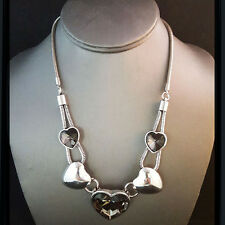NEW * Silver Masino Collectio Penta Heart Grey Gemmed Double Loop Chain Necklace