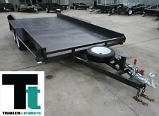 TANDEM CAR CARRIER TRAILER 14x6'6 WINCH POST JOCKEY SPARE RAMPS