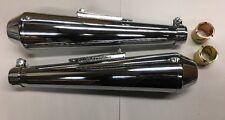 "BSA REVERSE MEGAPHONE Mufflers For 1 3/8-1 3/4"" Pipes  CHROME 17"" Long"