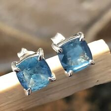 Natural Teal Blue Kyanite 925 Solid Sterling Silver Princess Cut Earrings 6mm