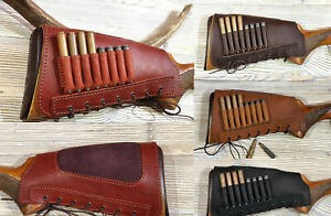 Leather Rifle Buttstock Cover Butt Stock Holder Cheek Rest - Holds 8 Cartridges