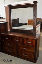 COBAR DRESSER DRESSING TABLE CHEST 7 DRAWER IN SOLID TIMER - IN RUSTIC WALNUT