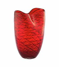 "New 9"" Hand Blown Glass Art Vase Red Ruffled Fluted Italian Decorative"