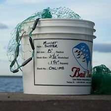 "Bait Buster Mullet Cast Nets with 1-1/4"" Squared Mesh - 10 Foot Radius"