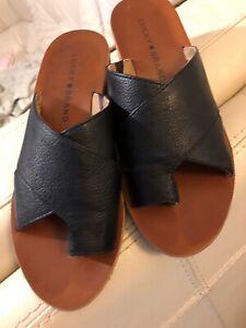 LUCKY BRAND Blk Leather Split Toe Mules Sz.5.5