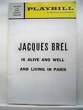 JACQUES BREL IS ALIVE AND WELL Playbill ELLY STONE / JOE MASIELL Phila 1971