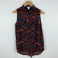 H&M Blouse Top Womens US 8 AU 12 Multicoloured Floral Sleeveless Boho