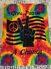 Give Peace A Chance Rainbow Tie Dye Wall Hanging Tapestry Rock Hippie Festival
