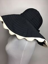 Women's Mud Pie Bag Lady Black And Cream Floppy Brim Sun Hat •ONE SIZE *NWOT