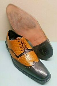 Stacy Adams Genuine Leather Wing-Tip Two-Tone Mens Dress Shoes Size 11M NICE!
