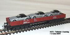 Märklin 4473 - Start Up - Niederbordwagen- 4 Essieux + 3 Voitures BMW Neuf