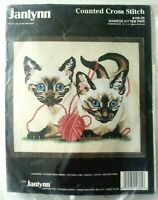 Janlynn Siamese Kitten Pair Counted Cross Stitch Kit 106-05 cat yarn NIP