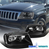 For 99-04 Jeep Grand Cherokee Black Replacement Head Lamps Headlights Pair L+R