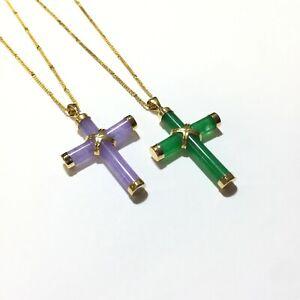 "Sterling Silver Green Jade Cross Pendant .925 16 Inch Chain 1 1//2/"" Drop"