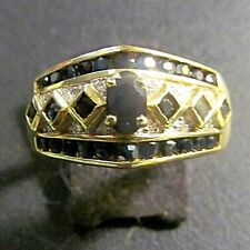 14K Yellow Gold And Sapphire Ladies Ring With Diamond Melee Accents
