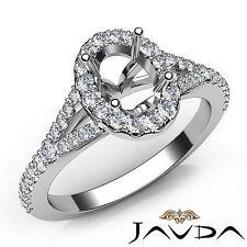 Genuine Oval Diamond Engagement Platinum Halo Pave Setting Semi Mount Ring 0.5Ct