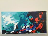 "Original Painting Abstract Landscape Acrylic Art on canvas  Blue Red 10""x20"""
