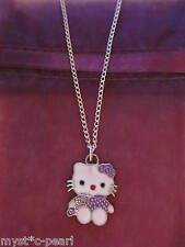 Brand New Hello Kitty Cat Lilac Pendant on Silver Plated Necklace in Gift Pouch