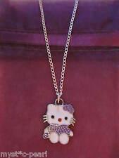 Nuovo di Zecca Hello Kitty Cat Lilla Ciondolo in Argento placcato collana in sacchetto da regalo