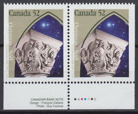 Canada #1586as 52¢ Christmas Capital Sculptures Pair from Booklet MNH - A