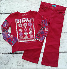 CHILDREN'S PLACE Girls Pink Red Flower Double Sleeve Tee & Pants 5 6 VGUC
