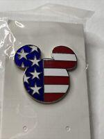 "Disney Mickey Mouse Head American Flag Stars & Stripes Pin New 1 1/4"" X 1 1/2"""