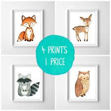 Nursery Prints Woodland Friends - Set of 4 - Decor Wall Art - Unframed Small A5